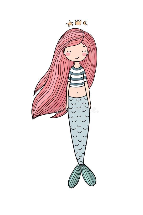 Bella piccola sirena Sirena Tema del mare royalty illustrazione gratis