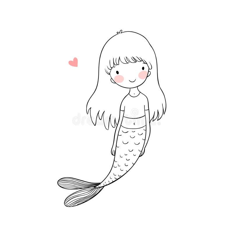 Bella piccola sirena Sirena Tema del mare illustrazione di stock