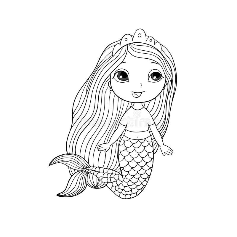 Bella piccola sirena Sirena Tema del mare illustrazione vettoriale