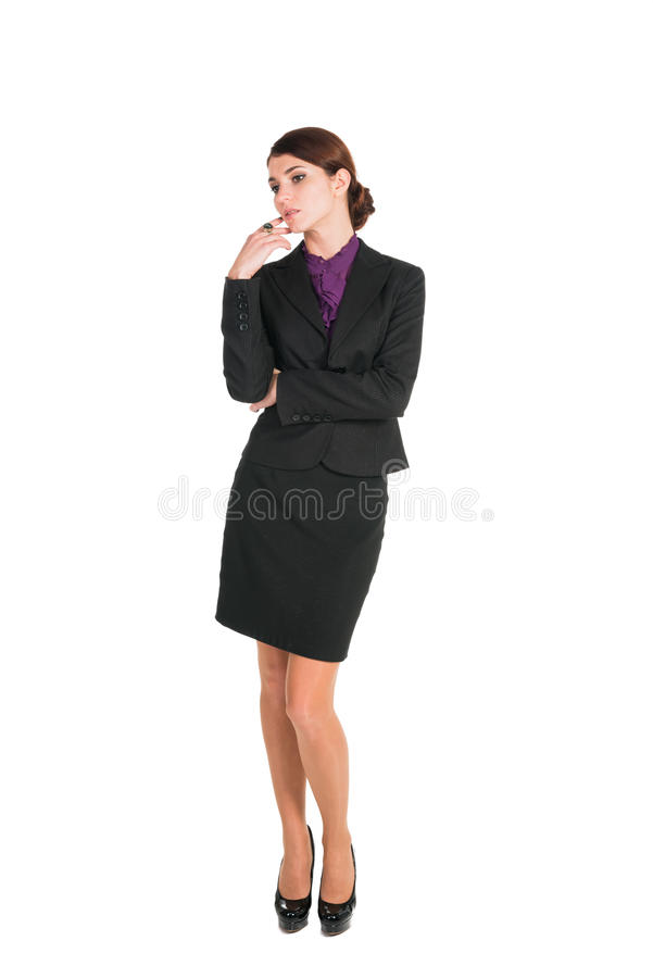Bella preoccupazione della donna di affari circa qualche cosa isolato fotografie stock