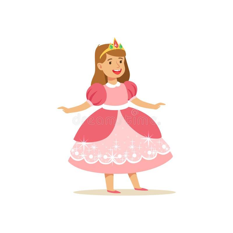 Bella principessa della bambina nel vestito da palla rosa ed in diadema dorato, costume di favola per il partito o vettore di fes illustrazione di stock