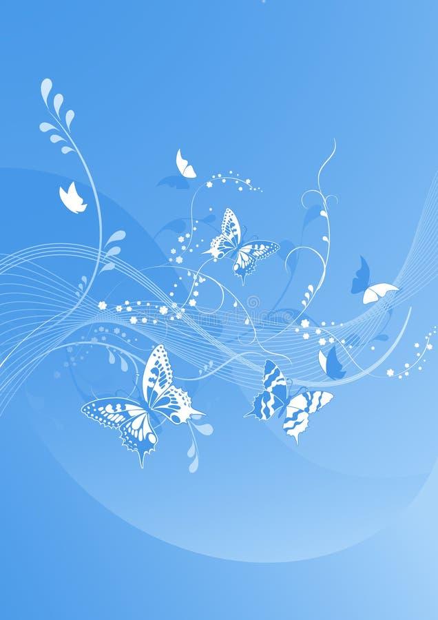 Bella priorità bassa blu della farfalla royalty illustrazione gratis