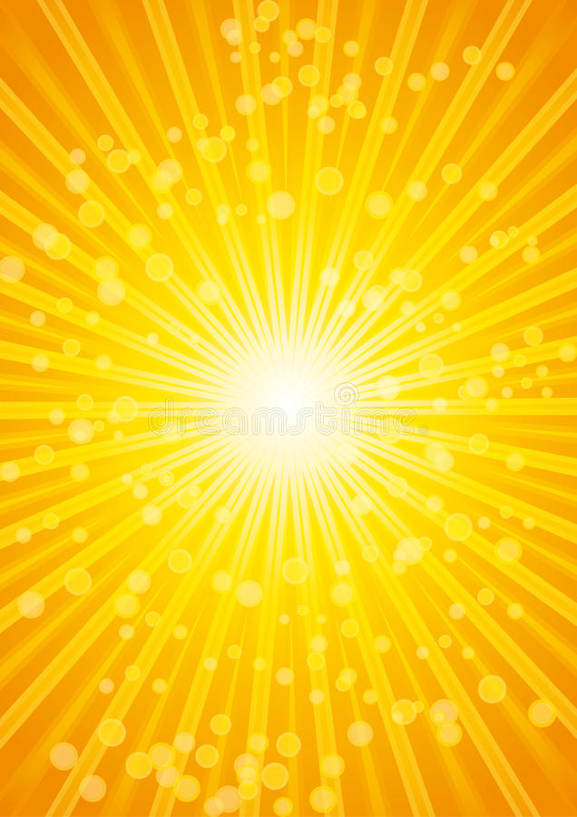Bella priorità bassa dell'onda termica dello sprazzo di sole con l'obiettivo. illustrazione vettoriale