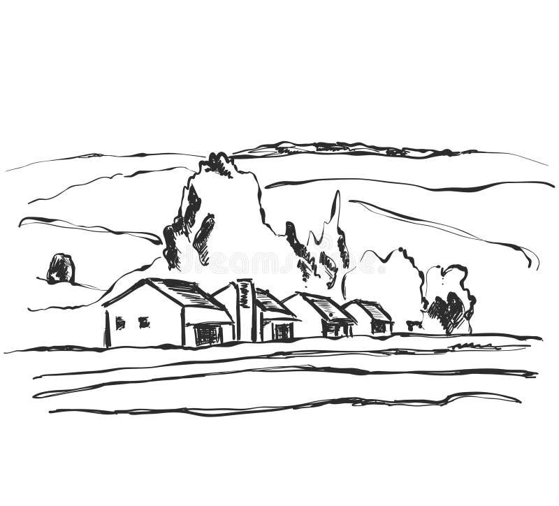 Bella priorità bassa della natura Schizzo del paesaggio Campi, montagne e casa illustrazione di stock
