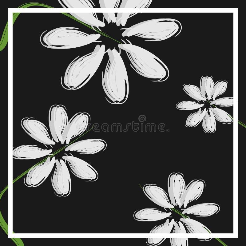 bella progettazione del fiore per l'illustrazione scura di vettore del fondo di tema floreale minimalista di progettazione della  illustrazione di stock