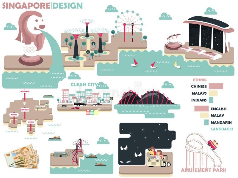 Bella progettazione grafica di Singapore illustrazione di stock