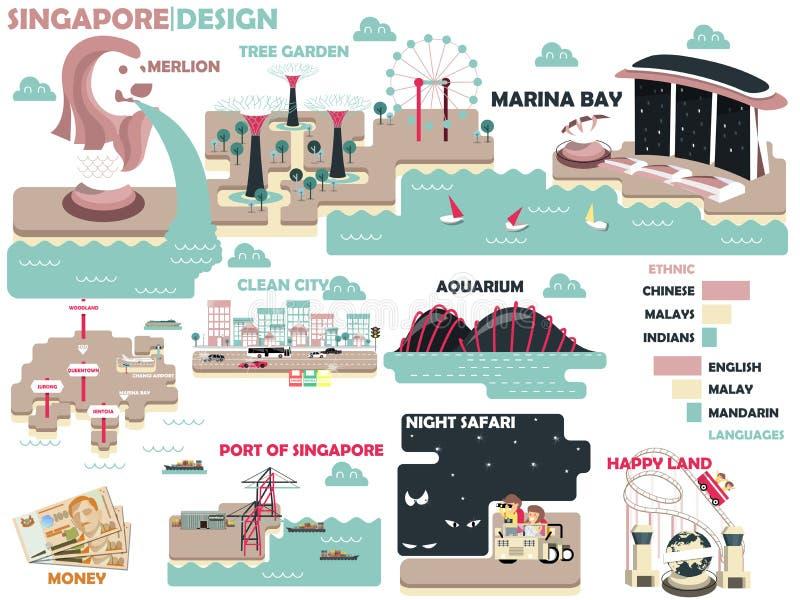 Bella progettazione grafica di Singapore con colore leggero illustrazione vettoriale