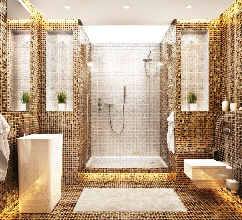 Bella progettazione moderna del bagno del mosaico illustrazione vettoriale