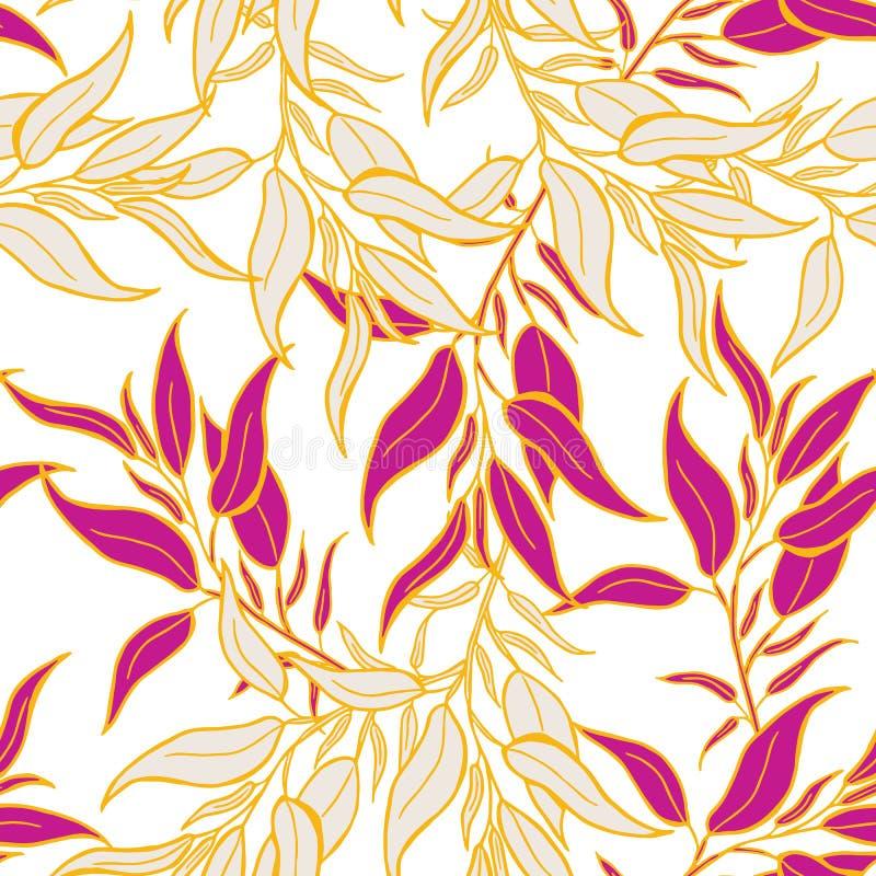 Bella progettazione tropicale del modello di estate dei fiori e delle foglie ed insieme isolato dell'oggetto royalty illustrazione gratis