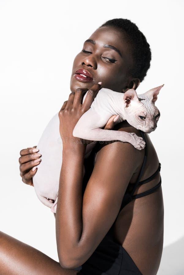 bella ragazza afroamericana sensuale che tiene il gatto dello sphynx immagine stock