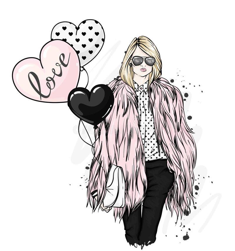 Bella ragazza alla moda in pelliccia, pantaloni e vetri Vestiti alla moda ed accessori Modo & stile illustrazione vettoriale