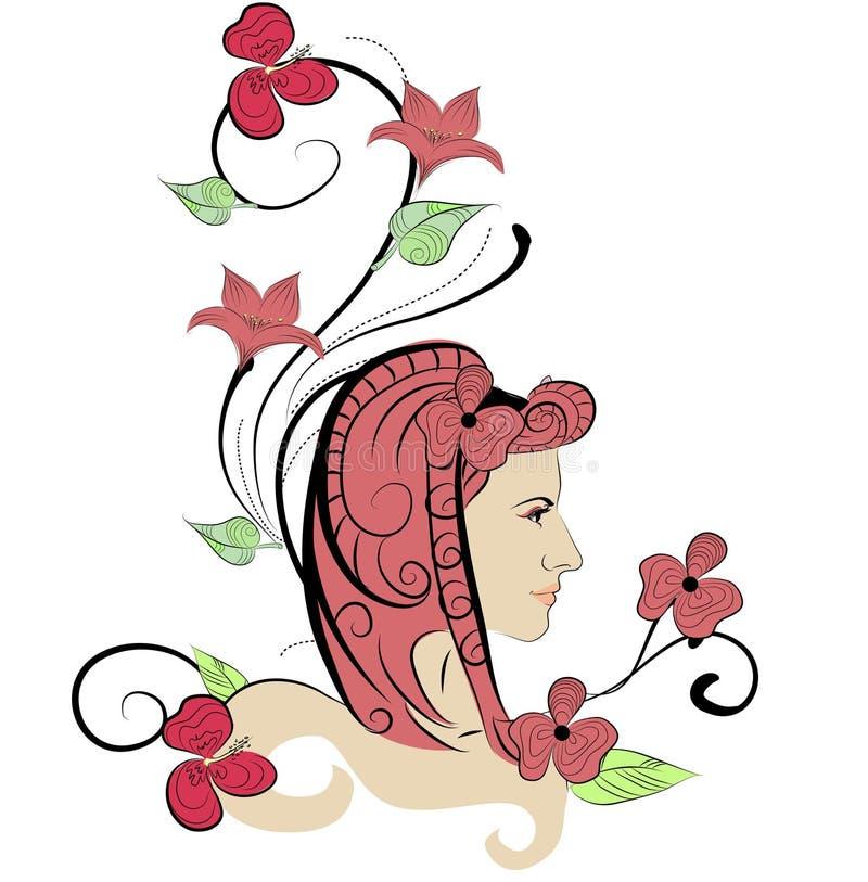 Bella ragazza astratta con i fiori illustrazione vettoriale