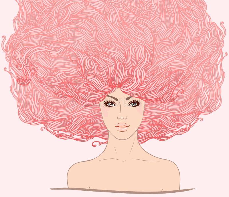 Bella ragazza bianca con capelli dentellare lunghi illustrazione di stock