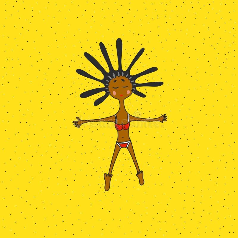 Bella ragazza in bikini su una spiaggia, su un'illustrazione, su un viaggio e su un resto illustrazione di stock