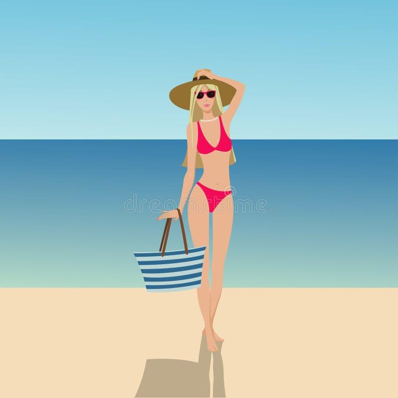 Bella ragazza in bikini sulla spiaggia illustrazione vettoriale