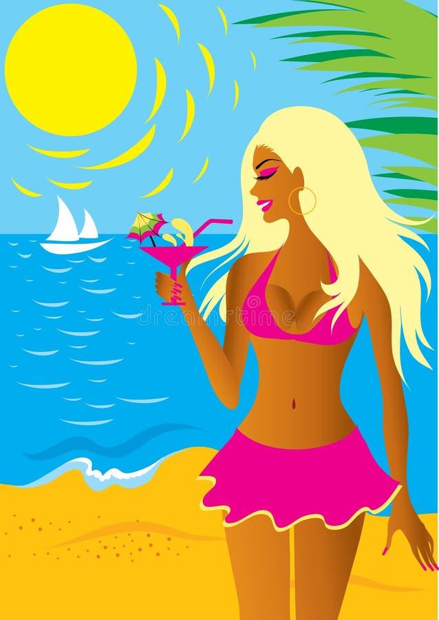 Bella ragazza bionda in bikini illustrazione vettoriale