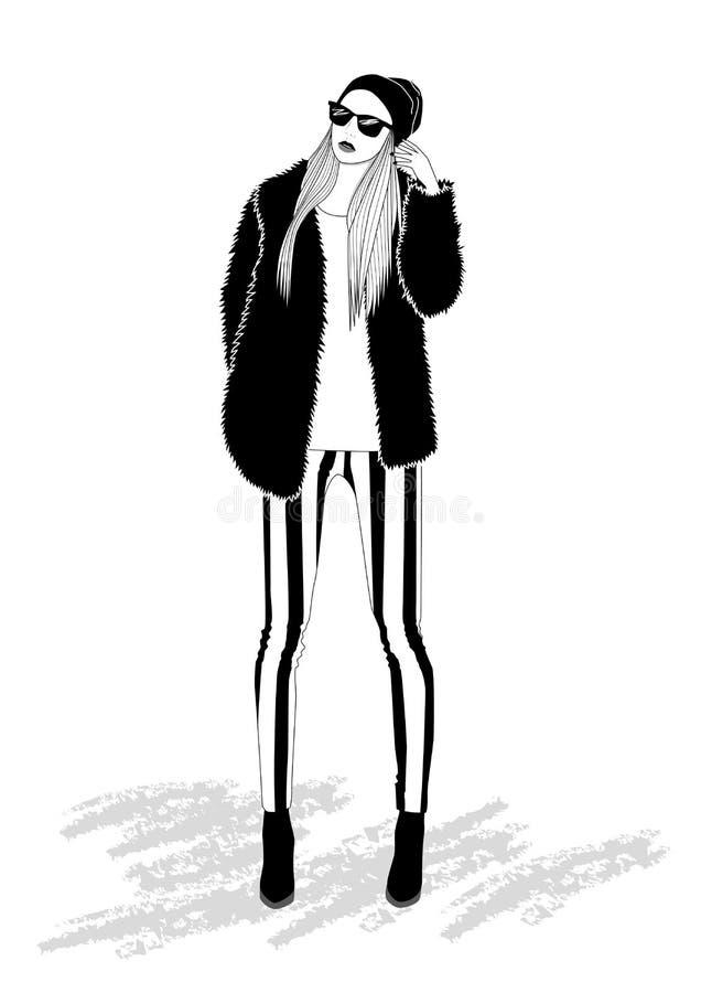 Bella ragazza bionda in pantaloni a strisce royalty illustrazione gratis