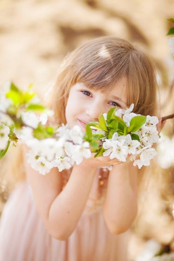Bella ragazza bionda in un frutteto di ciliegia sbocciante fotografia stock libera da diritti