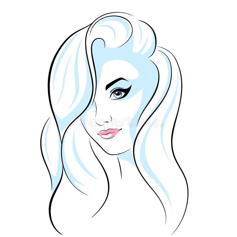 Bella ragazza capa - illustrazione al tratto illustrazione vettoriale