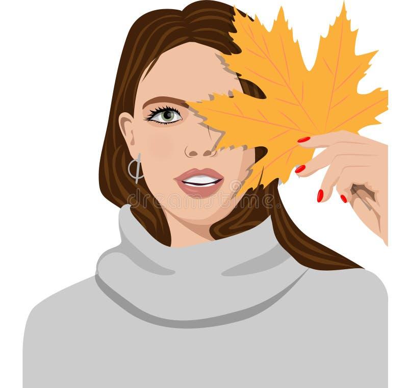 Bella ragazza castana che spinge a disposizione una foglia di autunno illustrazione vettoriale