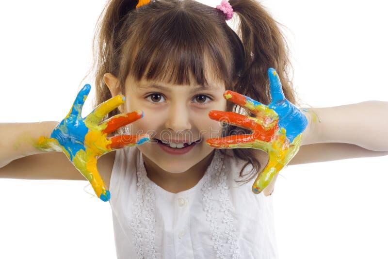 Bella ragazza che gioca con i colori fotografia stock libera da diritti
