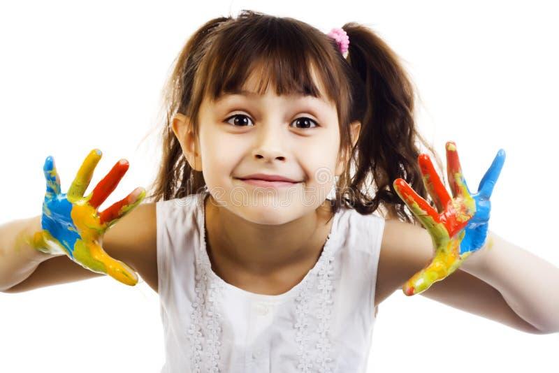 Bella ragazza che gioca con i colori immagini stock libere da diritti
