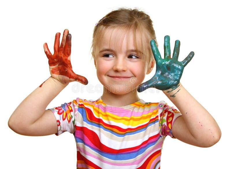 Bella ragazza che gioca con i colori fotografia stock