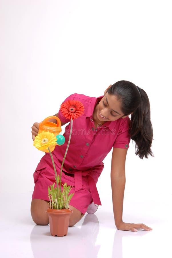 Bella ragazza che innaffia una pianta fotografia stock