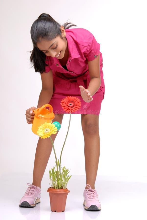 Bella ragazza che innaffia una pianta immagini stock