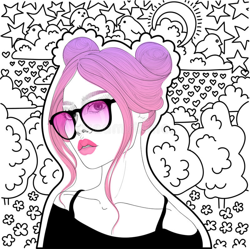 Bella ragazza con capelli dentellare royalty illustrazione gratis