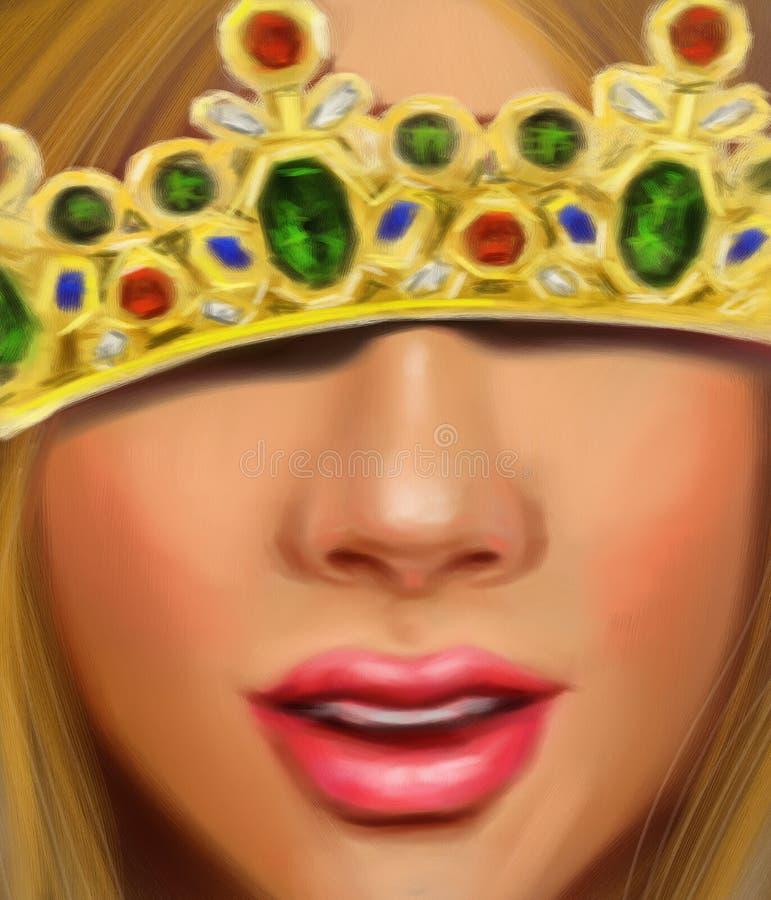 Bella ragazza con capelli giusti nella corona di una principessa con gli zaffiri ed i rubini dei diamanti fotografia stock libera da diritti