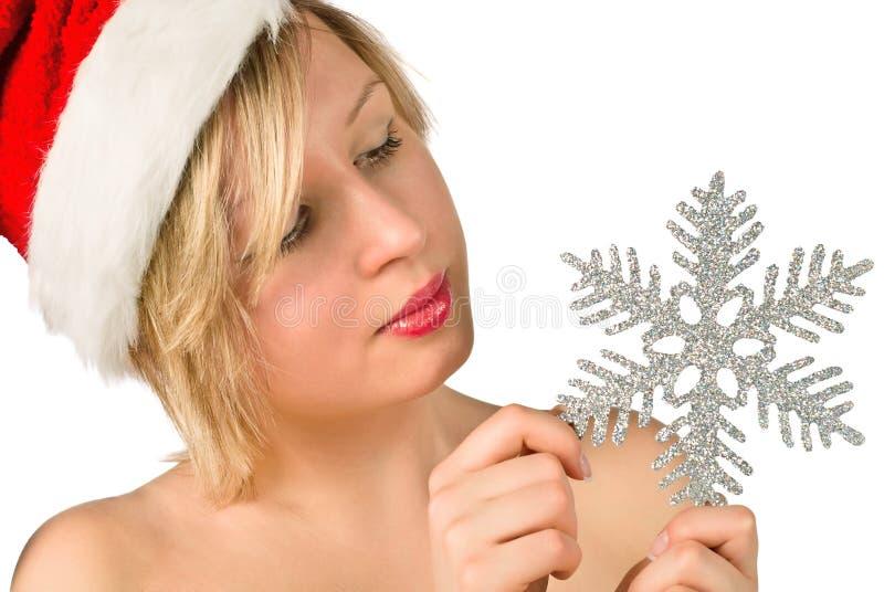 Bella ragazza con i fiocchi di neve immagine stock libera da diritti