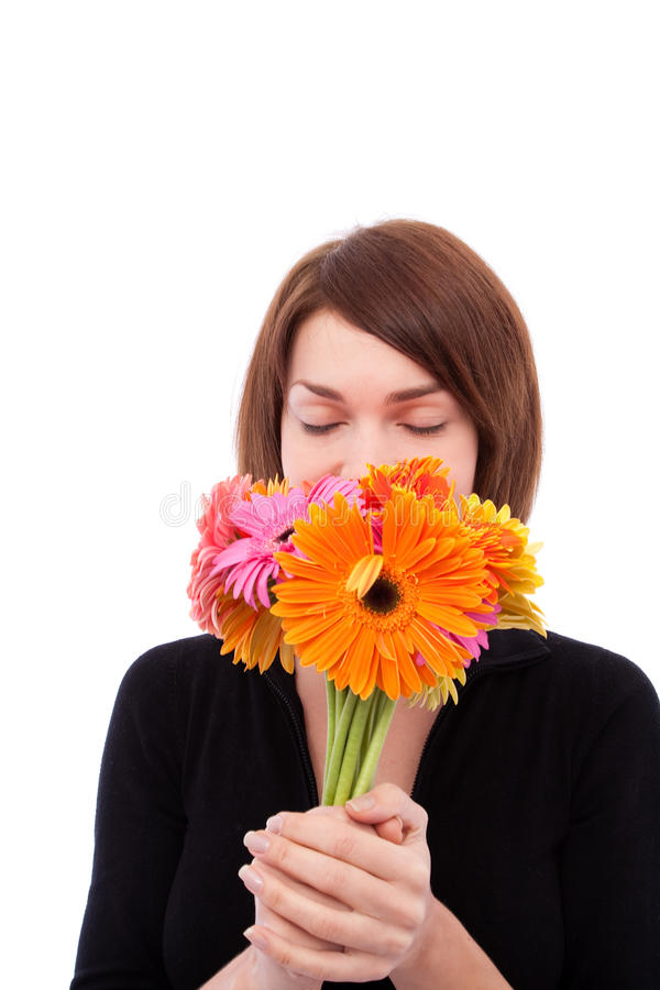 Bella ragazza con i fiori variopinti immagini stock libere da diritti