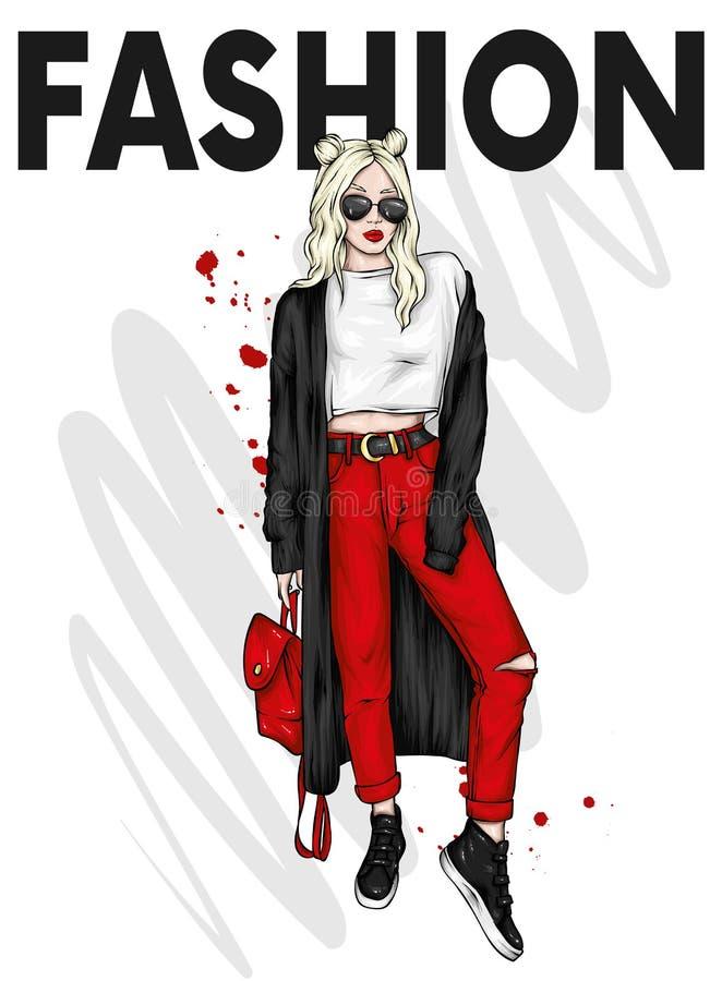 Bella ragazza con i vetri d'uso, il cardigan, i pantaloni e le scarpe da tennis dei capelli lunghi Fashionista con uno zaino Abbi royalty illustrazione gratis