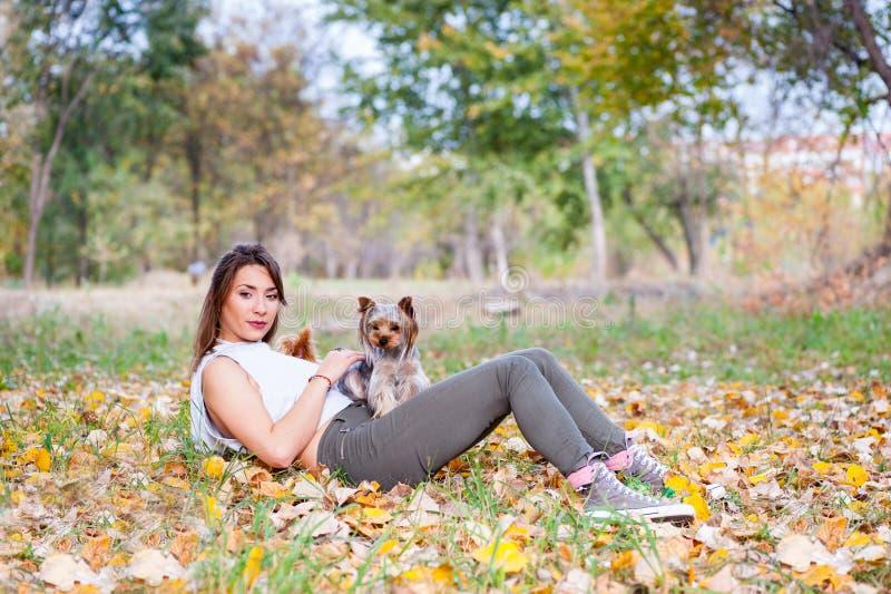 Bella ragazza con il suo cucciolo del cane dell'Yorkshire terrier che gode e che gioca nel giorno di autunno nel fuoco selettivo  immagini stock libere da diritti