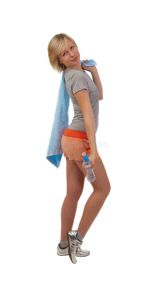Bella ragazza con la bottiglia di acqua immagini stock libere da diritti