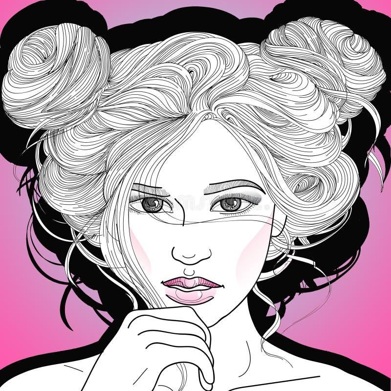 Bella ragazza con le acconciature di modo due fasci illustrazione vettoriale