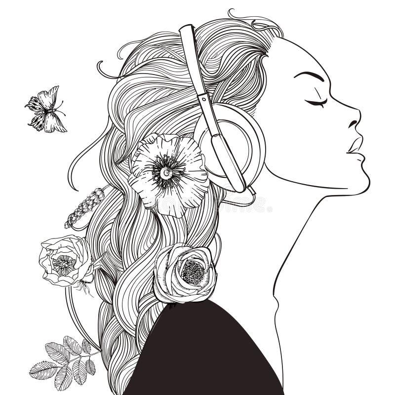 Bella ragazza con le cuffie royalty illustrazione gratis