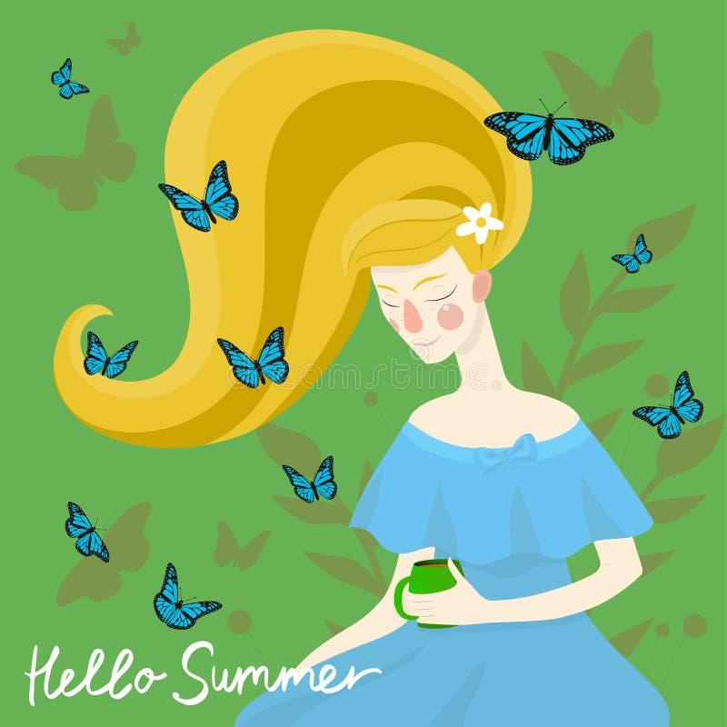 Bella ragazza con le farfalle sulla sua testa Illustrazione di vettore royalty illustrazione gratis