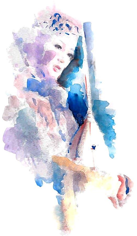 Bella ragazza con uno strumento musicale illustrazione vettoriale