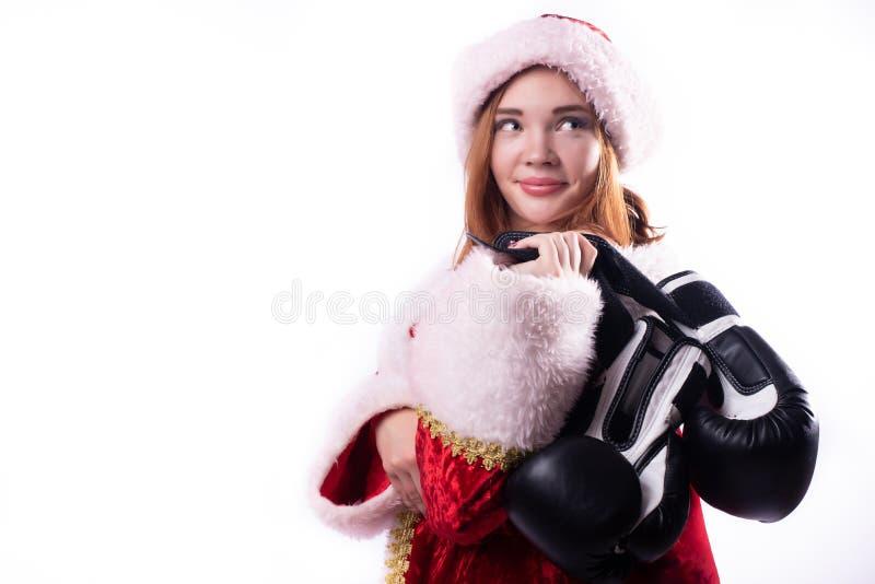 Bella ragazza in costume di Santa Claus fotografia stock