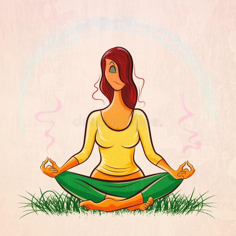 Bella ragazza dai capelli rossi che fa yoga e che medita su prato inglese illustrazione vettoriale