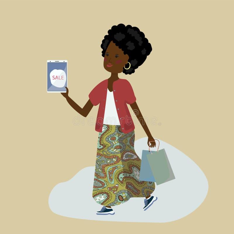 Bella ragazza dalla carnagione scura con gli acquisti e telefono in loro mani illustrazione di stock