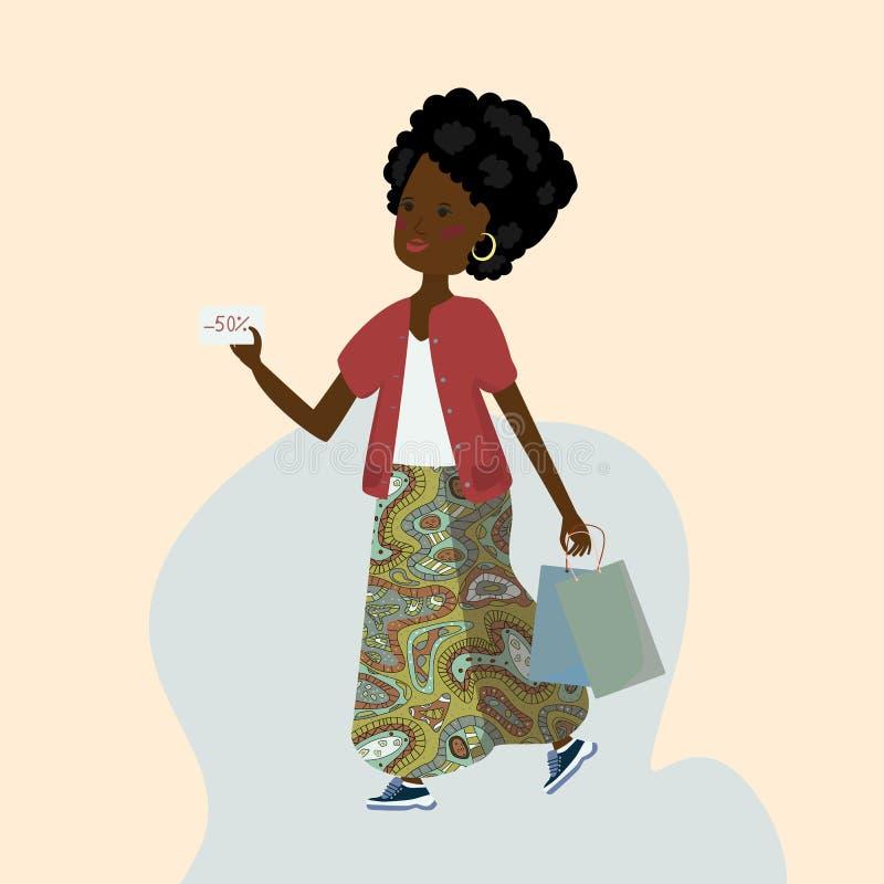Bella ragazza dalla carnagione scura con i pacchetti dal deposito e da una carta di sconto in sue mani illustrazione di stock