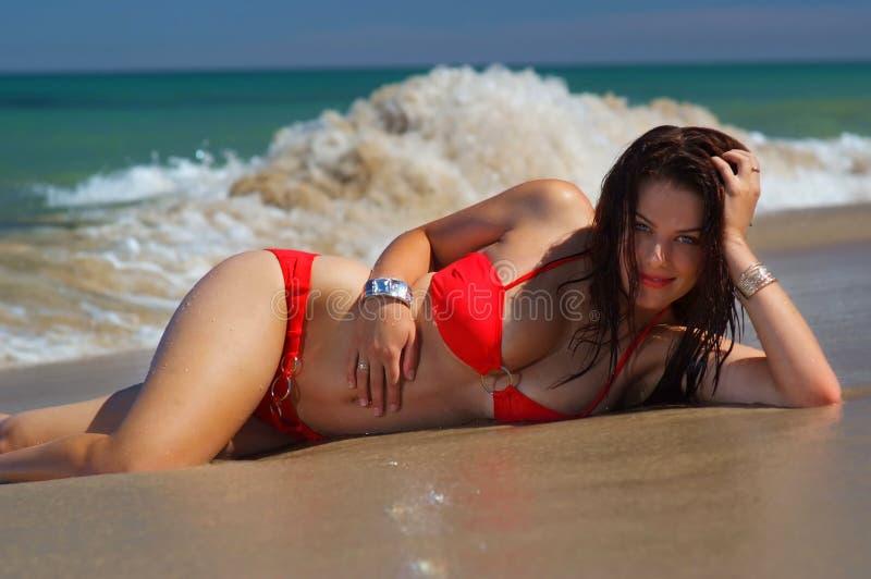 Bella ragazza del bikini del brunette immagine stock