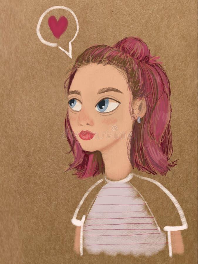 Bella ragazza del fumetto nell'amore illustrazione vettoriale