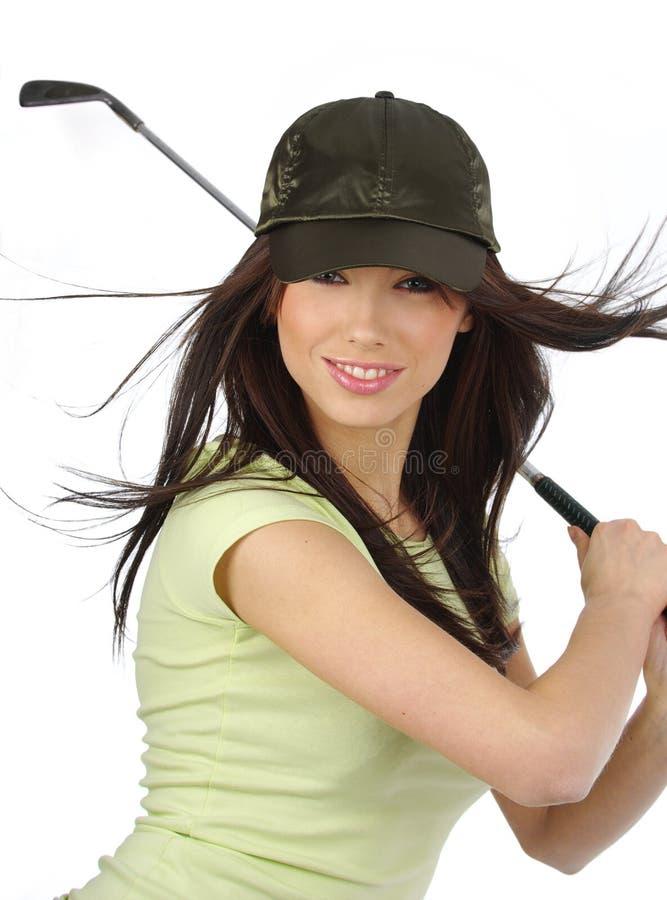 Bella ragazza del giocatore di golf, fotografia stock