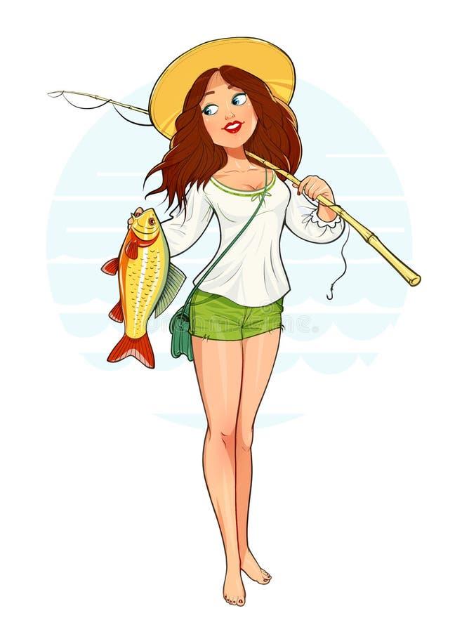 Bella ragazza del pescatore con il pesce e la barretta royalty illustrazione gratis