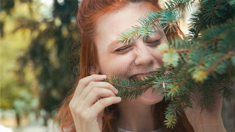Bella ragazza del vegano della testarossa che mangia gli aghi del pino immagini stock