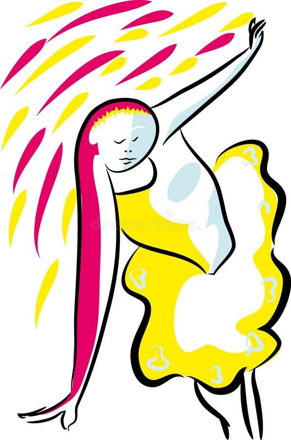 Bella ragazza della ballerina che balla la pittura di Ekv royalty illustrazione gratis